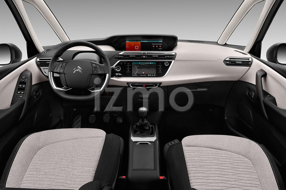 Stock photo of straight dashboard view of 2017 Citroen C4-Picasso Shine 5 Door Mini Mpv Dashboard