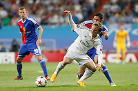 Modric of Real Madrid and Fabian Frei of FC Basel 1893 during the Champions League group B soccer match between Real Madrid and FC Basel 1893 at Santiago Bernabeu Stadium in Madrid, Spain. September 16, 2014. (ALTERPHOTOS/Caro Marin) /NortePhoto.com
