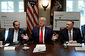 United States President Donald J. Trump, center, speaks during a Cabinet Meeting at the White House in Washington, DC on October 21, 2019. Pictured at left is US Secretary of Health and Human Services (HHS) Alex Azar and at right is US Secretary of State Mike Pompeo.<br /> Credit: Yuri Gripas / Pool via CNP