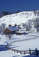 Vermont, VT, Scenic village of East Corinth from a snow-covered field in the winter.