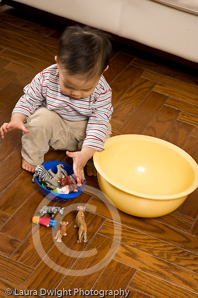 16 month old toddler boy playing with containers putting toy people human figures and animals in bowls vertical