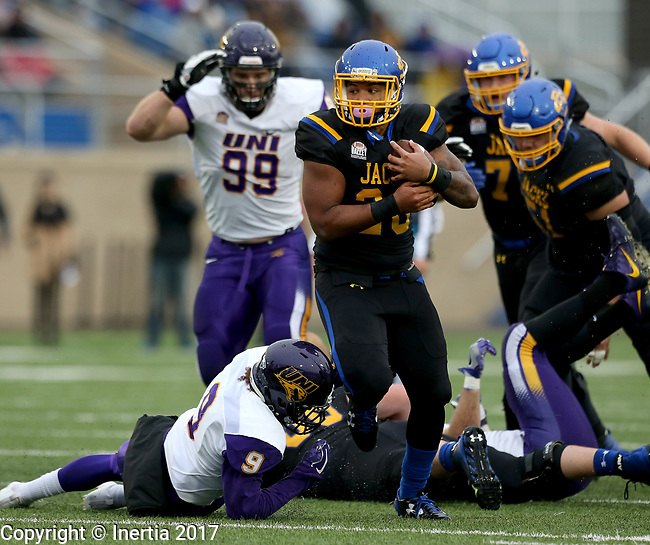 BROOKINGS, SD - OCTOBER 14: Mikey Daniel #26 from South Dakota State University breaks loose past Xavior Williams #9 from Northern Iowa in the first half of their game Saturday afternoon at Dana J. Dykhouse Stadium in Brookings, SD. (Photo by Dave Eggen/Inertia)