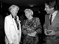 April 11, 1990 File Photo - <br /> <br /> <br />  - May Cutler, Mayor of Westmount (L)<br />  Jeanne Sauve, Governor General of Canada (M), Albert Milllaire (R)