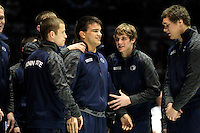 STATE COLLEGE, PA - FEBRUARY 16: Morgan McIntosh of the Penn State Nittany Lions is surrounded by teammates before a match against the Oklahoma State Cowboys on February 16, 2014 at Rec Hall on the campus of Penn State University in State College, Pennsylvania. Penn State won 23-12. (Photo by Hunter Martin/Getty Images) *** Local Caption *** Morgan McIntosh