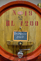 A barrel of Brunello di Montalcino.Una botte di Brunello di Montalcino del 2007