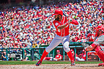24 May 2015: Washington Nationals outfielder Denard Span at bat against the Philadelphia Phillies at Nationals Park in Washington, DC. The Nationals defeated the Phillies 4-1 to take the rubber game of their 3-game weekend series. Mandatory Credit: Ed Wolfstein Photo *** RAW (NEF) Image File Available ***