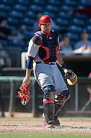 Mesa Solar Sox catcher Adrian Nieto (21), of the Washington Nationals organization, during an Arizona Fall League game against the Peoria Javelinas on October 16, 2013 at Surprise Stadium in Surprise, Arizona.  Mesa defeated Peoria 3-1.  (Mike Janes/Four Seam Images)