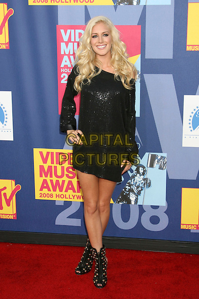 HEIDI MONTAG & SPENCER PRATT.2008 MTV Video Music Awards held at Paramount Studios, Hollywood, California, USA..September 7th, 2008.VMA Vmas arrivals full length black dress hand on hip suit open toe ankle shoe boots studs studded .CAP/ADM/MJ.©Michael Jade/AdMedia/Capital Pictures.