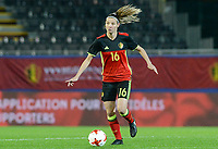 20171020 - LEUVEN , BELGIUM : Belgian Nicky Van Den Abbeele  pictured during the female soccer game between the Belgian Red Flames and Romania , the second game in the qualificaton for the World Championship qualification round in group 6 for France 2019, Friday 20 th October 2017 at OHL Stadion Den Dreef in Leuven , Belgium. PHOTO SPORTPIX.BE | DAVID CATRY