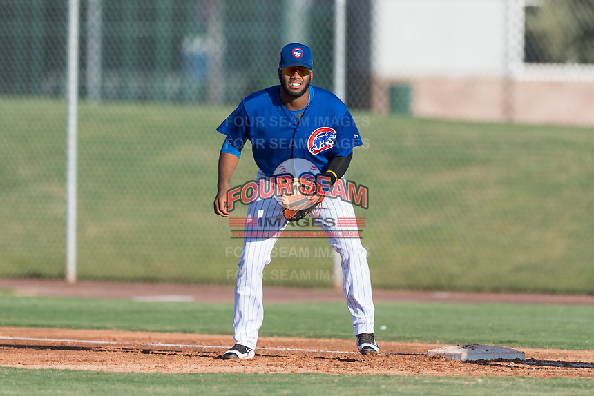 AZL Cubs 1 first baseman Rafael Mejia (58) during an Arizona League game against the AZL Indians 1 at Sloan Park on August 27, 2018 in Mesa, Arizona. The AZL Cubs 1 defeated the AZL Indians 1 by a score of 3-2. (Zachary Lucy/Four Seam Images)