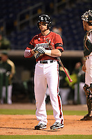 Louisville Cardinals infielder Zach Lucas (11) at bat during a game against the USF Bulls on February 14, 2015 at Bright House Field in Clearwater, Florida.  Louisville defeated USF 7-3.  (Mike Janes/Four Seam Images)