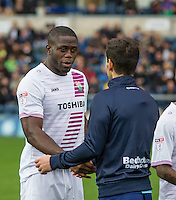 John Akinde of Barnet during the Sky Bet League 2 match between Wycombe Wanderers and Barnet at Adams Park, High Wycombe, England on 22 October 2016. Photo by Andy Rowland.