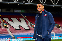 Bolton Wanderers' Josh Magennis inspecting the pitch before the match<br /> <br /> Photographer Andrew Kearns/CameraSport<br /> <br /> The EFL Sky Bet Championship - Wigan Athletic v Bolton Wanderers - Saturday 16th March 2019 - DW Stadium - Wigan<br /> <br /> World Copyright &copy; 2019 CameraSport. All rights reserved. 43 Linden Ave. Countesthorpe. Leicester. England. LE8 5PG - Tel: +44 (0) 116 277 4147 - admin@camerasport.com - www.camerasport.com