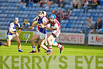 St Brendan's John Egan and Causeway's Tommy Barrett fight foe the ball in the semi final of the County hurling championship on Saturday.