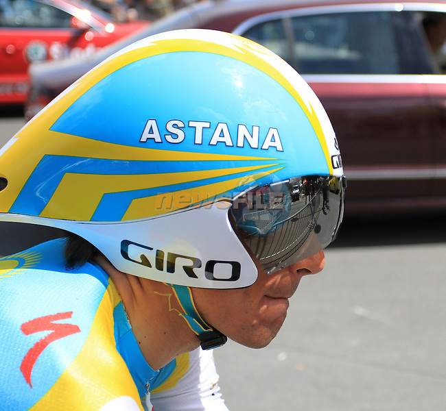 Paolo Tiralongo (Astana) before the start of Stage 19 of the 2010 Tour de France from Bordeaux to Pauillac, 24th July 2010 (Photo by Eoin Clarke/NEWSFILE)