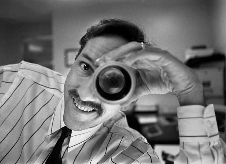 Jim Mendenhall, Pittsburgh Post-Gazette photo editor. Photo by Andy Starnes.   Original Filename: mendenhall starnes bw only.jpg