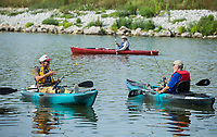 NWA Democrat-Gazette/BEN GOFF @NWABENGOFF<br /> Veterans fish from kayaks Saturday, Aug. 10, 2019, during the Heroes on the Water event at Lake Fayetteville.