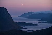 Moon over Nappstraumen at twilight, Vestvågøy, Lofoten Islands, Norway