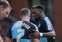 Gozie Ugwu of Wycombe Wanderers  talks to Garry Thompson of Wycombe Wanderers during the Sky Bet League 2 match between Leyton Orient and Wycombe Wanderers at the Matchroom Stadium, London, England on 19 September 2015. Photo by Andy Rowland.