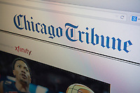 The newly designed website of the Chicago Tribune is seen on a computer screen on Tuesday, August 5, 2014.  The Tribune Company has spun off its print publications including the Los Angeles Times, the Chicago Tribune and eight other publications. The new company started trading today on the New York Stock Exchange and it has been rebranded Tribune Publishing. Tribune Publishing expects to invest heavily the digital platform, particularly mobile. © Richard B. Levine)