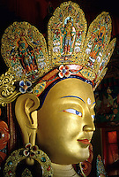 Head of a golden and very decorative Buddha, Hemis Monastery, Ladakh, India.