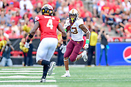 College Park, MD - SEPT 22, 2018: Minnesota Golden Gophers wide receiver Rashod Bateman (13) runs the football during game between Maryland and Minnesota at Capital One Field at Maryland Stadium in College Park, MD. The Terrapins defeated the Golden Bears 42-13 to move to 3-1 on the season. (Photo by Phil Peters/Media Images International)