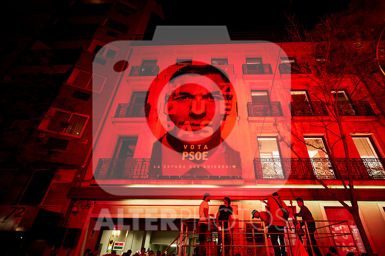 A giant picture of Prime Minister of Spain, Pedro Sanchez holds outside of the PSOE (Spanish Socialist Workers's Party) headquarters with the slogan Haz Que Pase (Make It Happens) in Madrid, Spain. Spaniards go to the polls to elect 350 members of the parliament and 208 senators this Sunday. This will be the 13th General Election since the transition to democracy resulting in the Constitution of 1978. There are five main parties: the two traditional parties are the right-wing Partido Popular (People's Party) and the centre-left Partido Socialista Obrero Espanol or PSOE (Spanish Socialist Workers's Party), along with right-wing parties Ciudadanos (Citizens) and VOX and the left wing party, Podemos (We Can). April 28, 2019.April 28, 2019. (ALTERPHOTOS/A. Perez Meca)