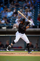 Birmingham Barons center fielder Luis Alexander Basabe (12) at bat during a game against the Tennessee Smokies on August 16, 2018 at Regions FIeld in Birmingham, Alabama.  Tennessee defeated Birmingham 11-1.  (Mike Janes/Four Seam Images)