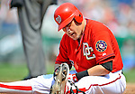 13 July 2008: Washington Nationals' catcher Paul Lo Duca sits in the batter's box after being brushed down by Houston Astros' starting pitcher Brandon Backe at Nationals Park in Washington, DC. The Astros shut out the Nationals 5-0 to take the rubber match of their 3-game series, as both teams head into the All-Star break and the second half of the 2008 season...Mandatory Photo Credit: Ed Wolfstein Photo