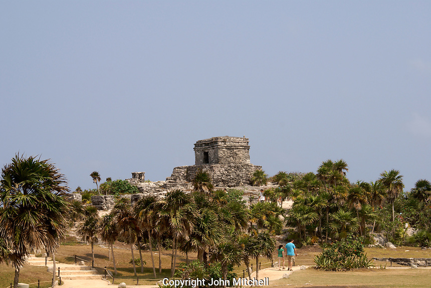 Temple of the Wind God at the Mayan ruins of Tulum on the Riviera Maya, Quintana Roo, Mexico.
