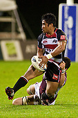 Notise Tauafao looks to get the pass away as he is dragged to ground by Hua Tamariki. Air New Zealand Cup Rugby game between Counties Manukau Steelers and Southland, played at Bayer Growers Stadium Pukekohe on Thursday September 17th 2009. Southland won the game 14 - 6 after leading 8 - 6 at halftime.