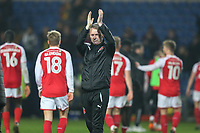 John Sheridan (Manager) of Fleetwood Town applauds the travelling fans after the Sky Bet League 1 match between Oxford United and Fleetwood Town at the Kassam Stadium, Oxford, England on 10 April 2018. Photo by David Horn.