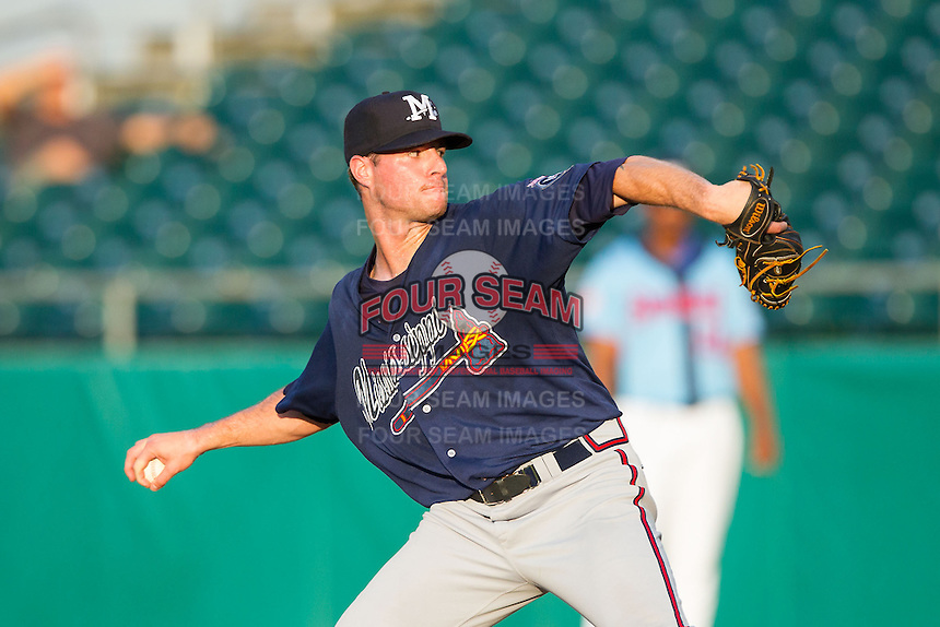 Mississippi Braves starting pitcher Greg Ross (26) in action against the Tennessee Smokies at Smokies Park on July 22, 2014 in Kodak, Tennessee.  The Smokies defeated the Braves 8-7 in 10 innings. (Brian Westerholt/Four Seam Images)