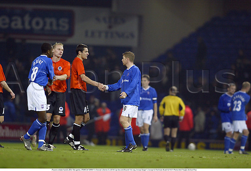 Players shake hands after the game, IPSWICH TOWN 1 v Slovan Liberec 0, UEFA Cup Second Round 1st Leg, Group Stage 1, Group H, Portman Road 021031 Photo:Neil Tingle/Action Plus...2002.Football soccer shaking