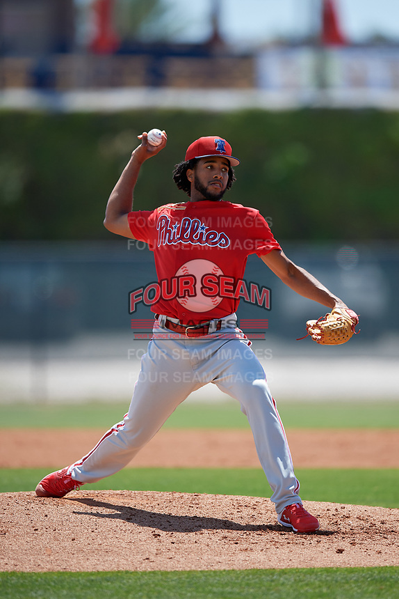 Philadelphia Phillies pitcher Adonis Medina (25) during a Minor League Spring Training game against the Toronto Blue Jays on March 29, 2019 at the Carpenter Complex in Clearwater, Florida.  (Mike Janes/Four Seam Images)