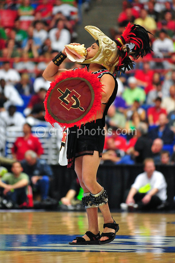 Mar 17, 2011; Tucson, AZ, USA; The San Diego State Aztecs mascot in the first half of a game against the Northern Colorado Bears in the second round of the 2011 NCAA men's basketball tournament at the McKale Center. Mandatory Credit: Chris Morrison-US PRESSWIRE