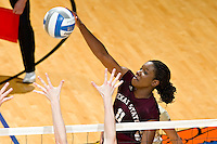 SAN ANTONIO, TX - NOVEMBER 18, 2007: The Texas State University Bobcats face off against the Stephen F. Austin State University Ladyjacks in the Southland Conference Volleyball Tournament Final held at the UTSA Convocation Center on the campus of the University of Texas at San Antonio. (Photo by Jeff Huehn)