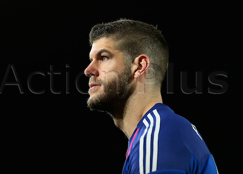 01.03.2016. Vitality Stadium, Bournemouth, England. Barclays Premier League. Bournemouth versus Southampton. Southampton Goalkeeper Fraser Forster not happy to let in the first goal