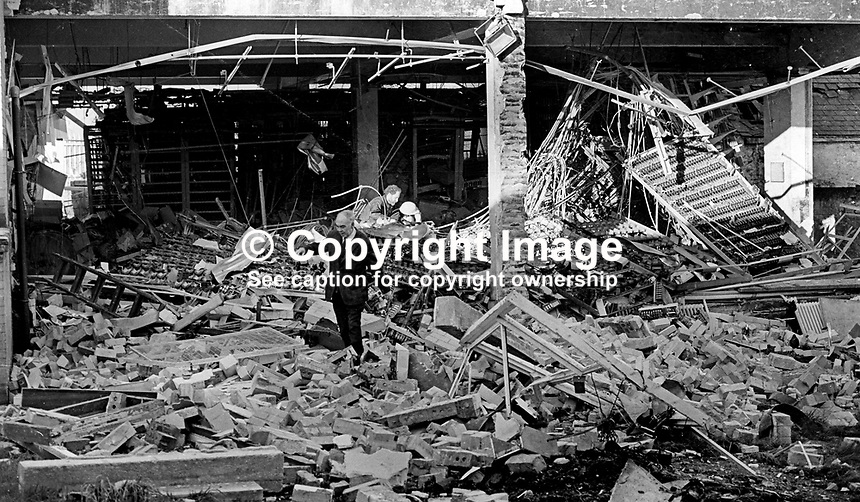 Scene of devastation at the town's telephone exchange after Provisional IRA bomb explosion in Armagh, N Ireland. As a result some 1600 subscribers lost their telephone service. 16th November 1972. 197211160671a<br />
