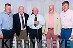 Agherne Golf Society Captain Prize Giving after the competition in Mahony Point Golf Club. Pictured are l-r Donal Harnedy (committee), Denis Fitzgerald (President), Seamus Beecher (first prize winner), Bill Somers (captain) and Pat Beecher (secretary) in the Dromhall Hotel, Killarney last Saturday night.