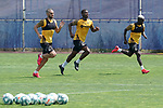 Getafe's Jorge Molina, Florent Poulolo and Amath Ndiaye during training session. May 25,2020.(ALTERPHOTOS/Acero)