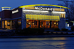 Night view of McDonald's Restaurant, Rockland, Maine, USA