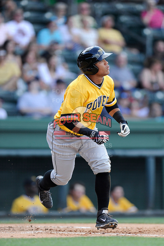 Center fielder Harold Ramirez (32) of the West Virginia Power bats in a game against the Greenville Drive on Sunday, May 11, 2014, at Fluor Field at the West End in Greenville, South Carolina. Ramirez is the No. 9 prospect of the Pittsburgh Pirates, according to Baseball America. Greenville won, 9-6. (Tom Priddy/Four Seam Images)