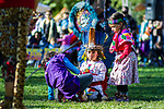RANDALL'S ISLAND ISLAND, MANHATTEN - October 10, 2016:  Young Aztec dancers take a break from performing at Monday's Indigenous Peoples Day Celebration.