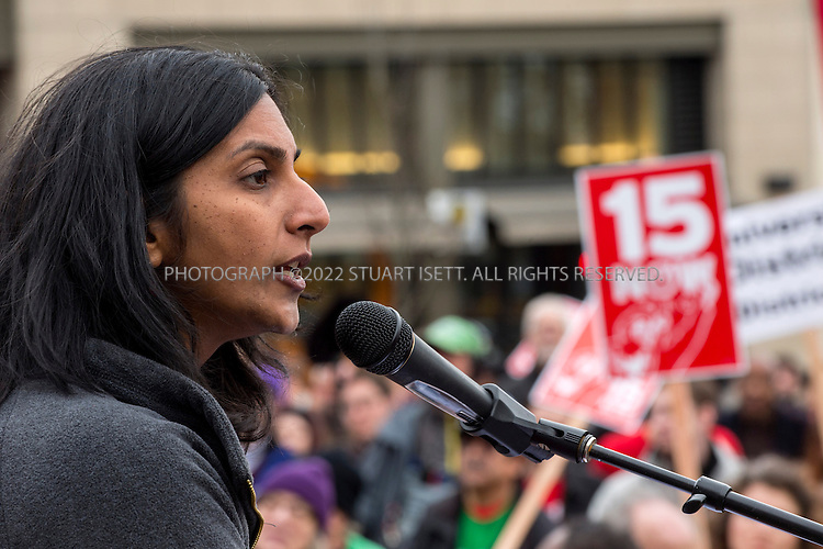 3/16/2014&mdash;Seattle, WA, USA<br /> <br /> <br /> Socialist Seattle city council member, Kshama Sawant speaks at a rally organized by a group started to push for a raise in the city's minimum wage called &ldquo;$15 Now!&rdquo;. The march and rally were held to demand the city council raise the minimum wage to $15 per hour from the current statewide $9.32 an hour. <br /> <br /> Several hundred people marched from Judkins Park in the city&rsquo;s Central District  to Seattle Central Community College on Capitol Hill where the rally was held. <br /> <br /> Photograph by Stuart Isett<br /> &copy;2014 Stuart Isett. All rights reserved.