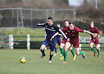 EEjob 04/03/2015 Sport<br /> Colaiste Stiffen Naofa Jamie Stack &amp; NUI Galway's Shane O'Rourke in Action during there the CUFL Final in Limerick.<br /> Picture  Credit Brian Gavin Press 22