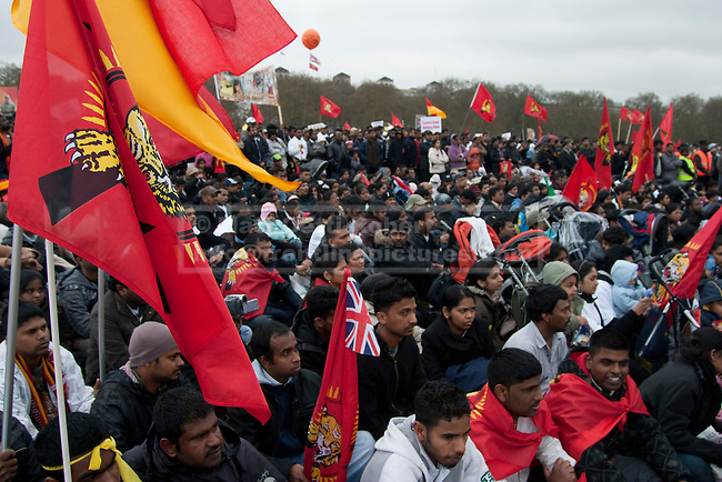 Thousands of protesters sit in Hyde Park as they listen to speakers talk about the Tamil situation in Sri-Lanka.