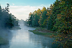 Mist rises from the Skillings River at Carrying Place in Hancock, ME, USA