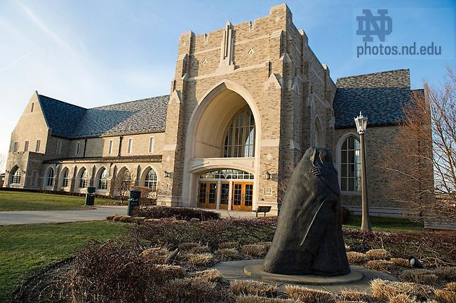 Feb. 13, 2013; Visitation Statue. Photo by Barbara Johnston/University of Notre Dame