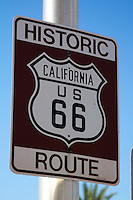 Historic Route 66 roadsign in Needles California.